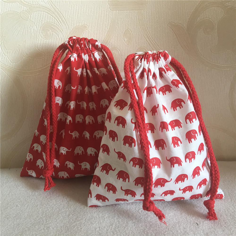 YILE Cotton Twill Cosmetic Pouch Drawstring Multi-purpose Bag Party gift Bag Print Lucky elephant Red or White Base N630F