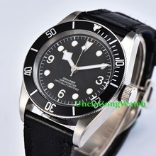 41mm Brushed Case Mens Automatic Watch Sapphire Glass Black Bezel Clock Sterile Dial White Marks Timepiece WCA2010BSW