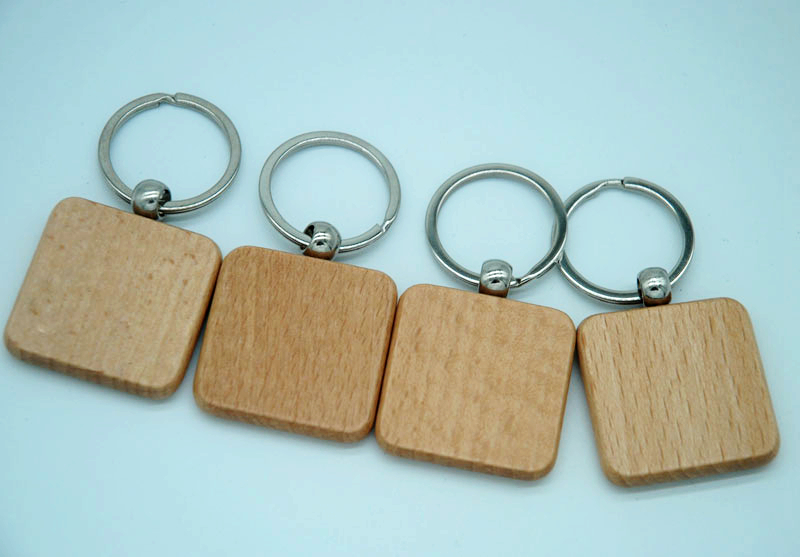 60pcs Blank Square Wooden Key Chain DIY Promotion Customized Key Tags Promotional Gifts