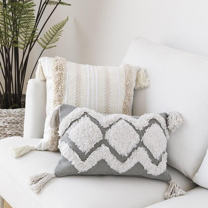 30x50cm cojines decorativos para o sofá marrocos geométrico preto e branco tufted tassel fronha decorações de natal para casa