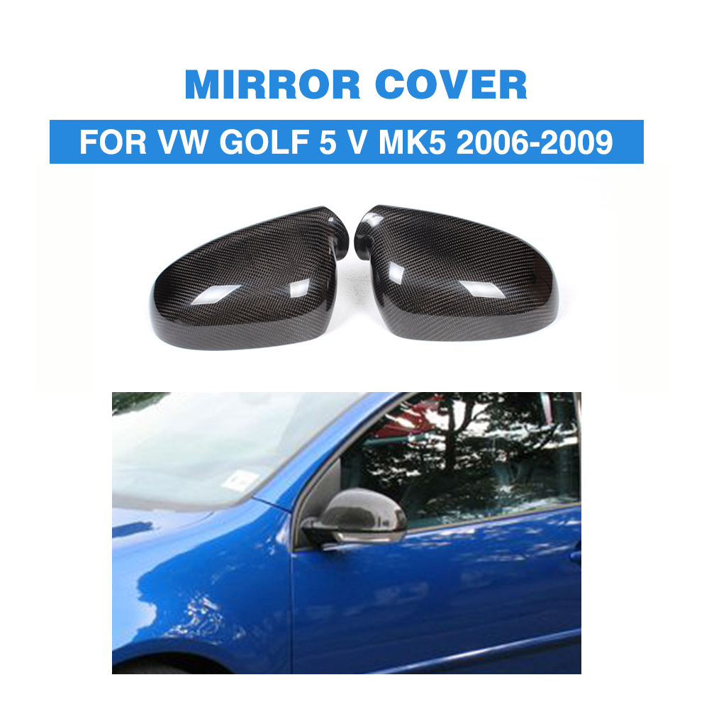 Carbon Fiber car side rear Mirror Covers Caps Fit For Volkswagon VW Golf V MK5 GTI clear glass aspherical side mirror glass for vw golf mk5