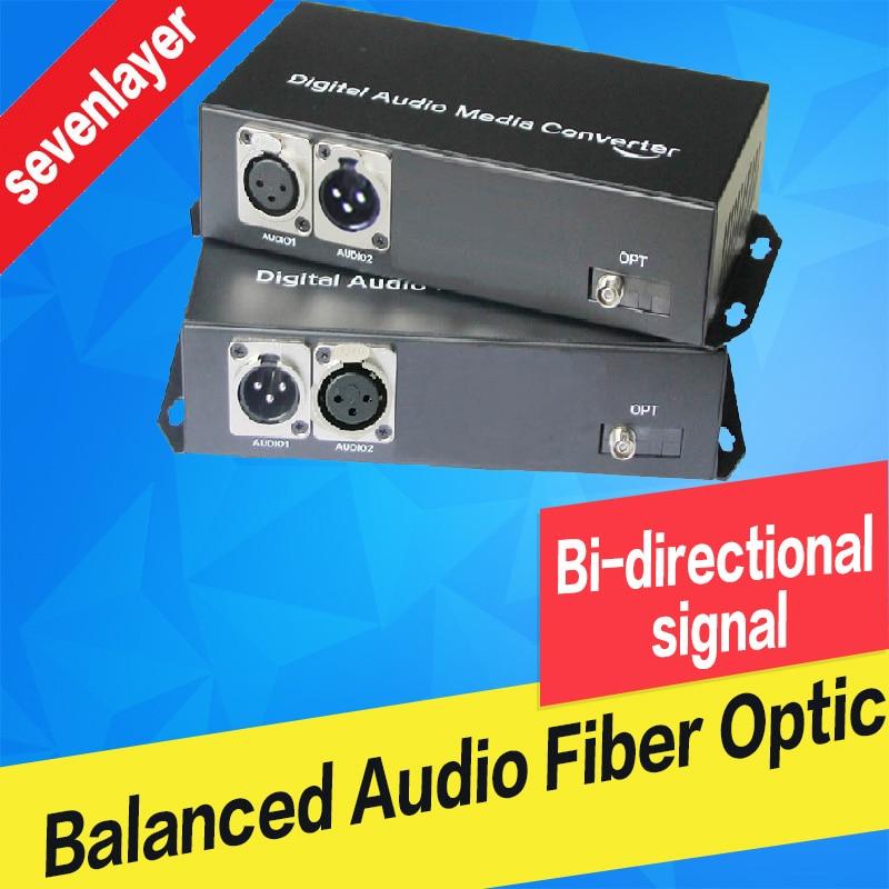 1CH Bi-directional Balanced Audio To Fiber Optic XLR Over Fiber Audio Digital Fiber Media Converter Transceiver And Receiver