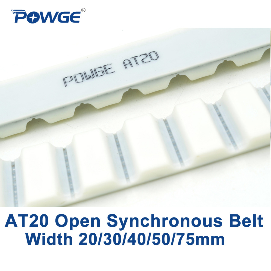 POWGE Trapezoid PU AT20 Open synchronous belt width 20/30/40/50/75mm Polyurethane steel AT20-20 AT20-30 AT20-40 open Timing Belt powge 10meters trapezoid h synchronous belt h 50 8 width 50 8mm pitch 12 7mm pu h open timing belt polyurethane steel