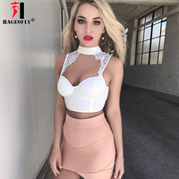 NEW Sexy Women Bandage Lace Tank Crop Tops Black White Pink Knitted Bra Luxury Celebrity Evening