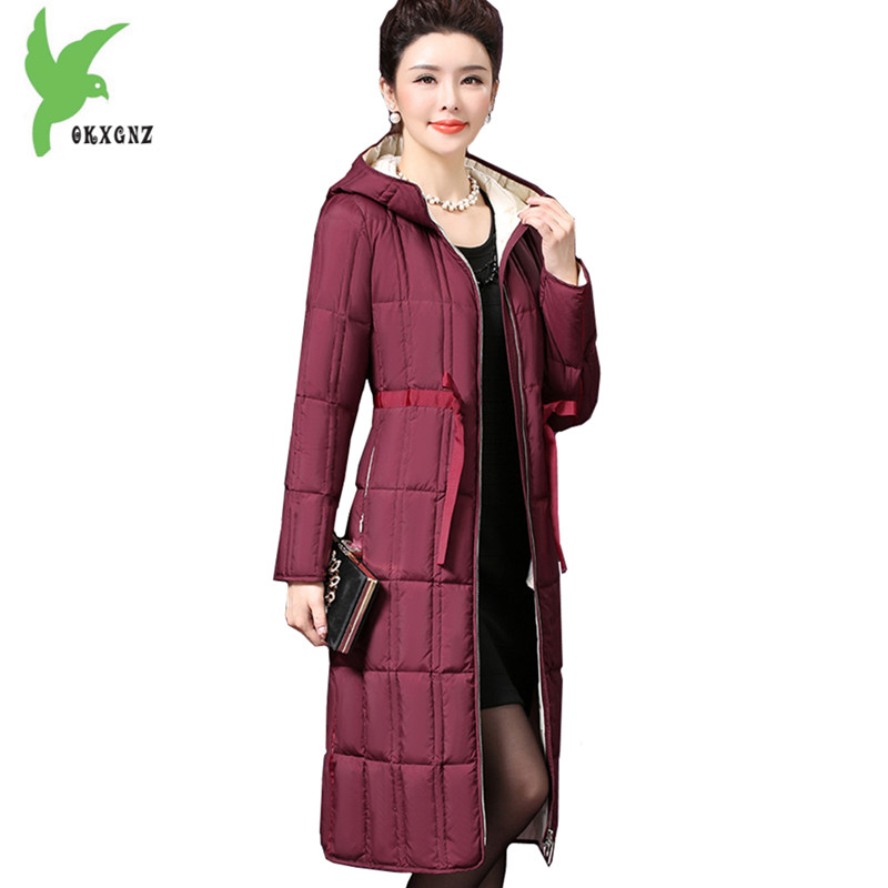 High Quality Women Winter Down Cotton Jackets coat Light Thin Warm Parkas Long Style Down Jackets Plus Size Slim Coat OKXGNZ1198 2018 new women winter down cotton jacket coats plus size 7xl long style parkas light thin hooded warm cotton jackets okxgnz 1253