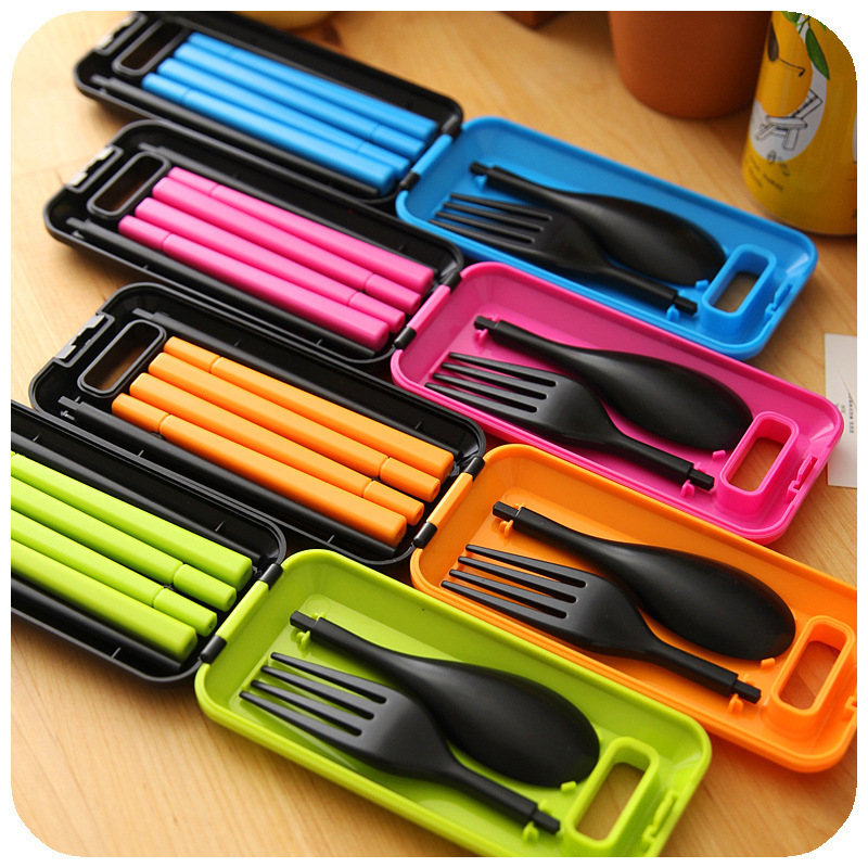 1 Set Portable 3 in 1 ABS Folding Dinnerware Sets Travel Fork Tableware Camping Picnic Set with Storage Box Gift For Child Kids