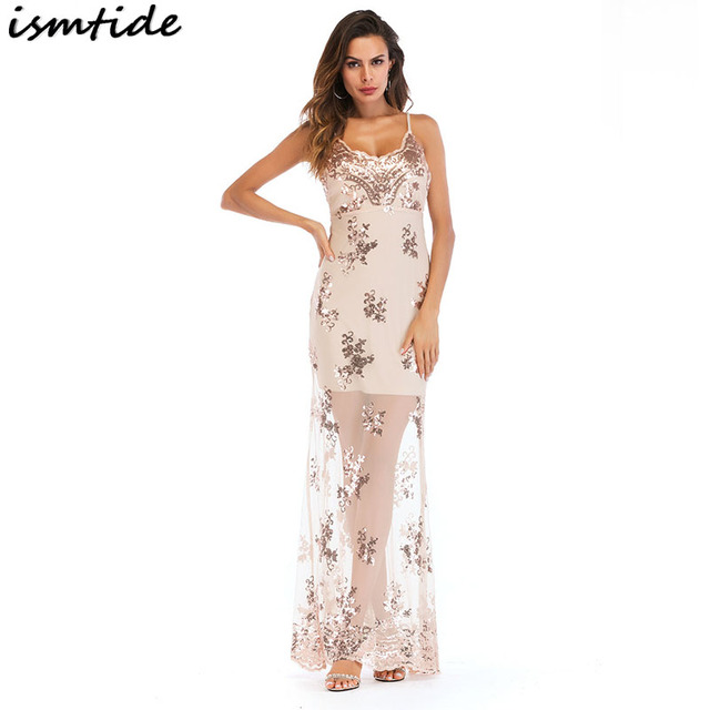 2018 New Summer Long Mesh Dress Gold Sequin Maxi Dresses Women Sexy Backless  Mesh Lace Luxury Sequined Party Club Maxi Dress 2XL 2ddb0e9a2b11