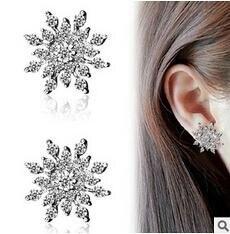 e0104 Hot Sale Luxury Silver color Stud Earrings Zircon High Quality Crystal Earring For Women Gift