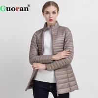 Guoran Slim Ultra Light Down Jackets Women 2017 Winter Stand Collar Thin Coat Femme 90