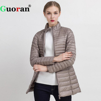 Guoran Slim Ultra Light Down Jackets Women 2017 Winter Stand Collar Thin Coat Femme 90