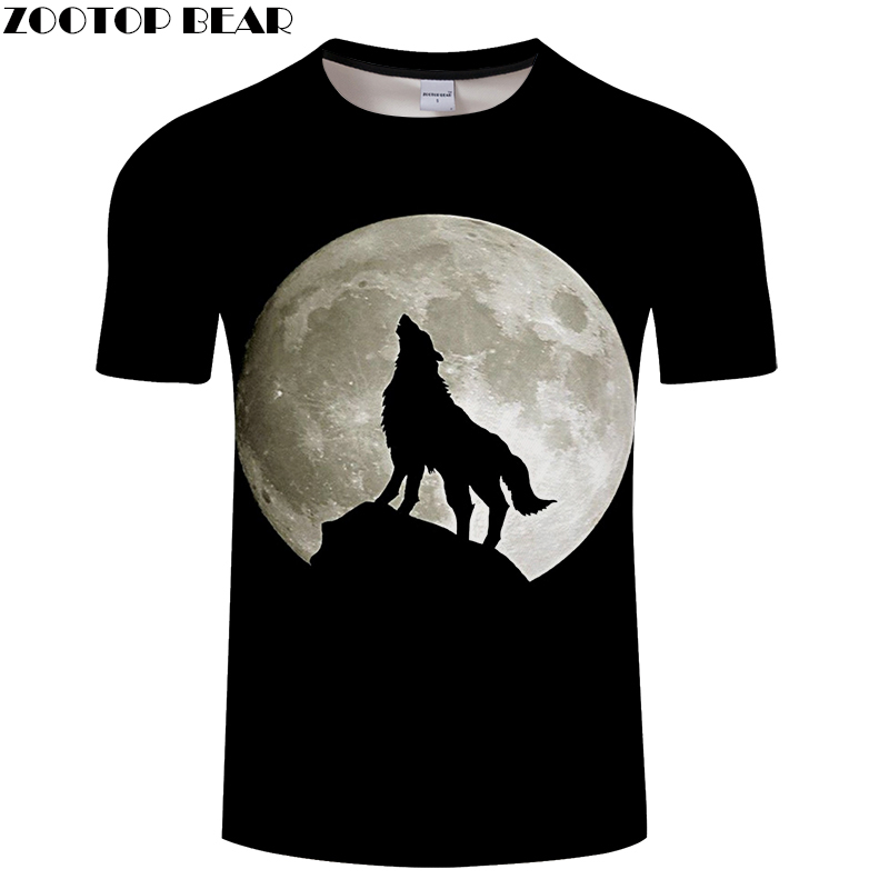Black tshirt 3D T-shirt Men Wolf t shirt Harajuku Tees Streatwear Tops Print Camiseta Short Sleeve Moon Drop Ship ZOOTOP BEAR