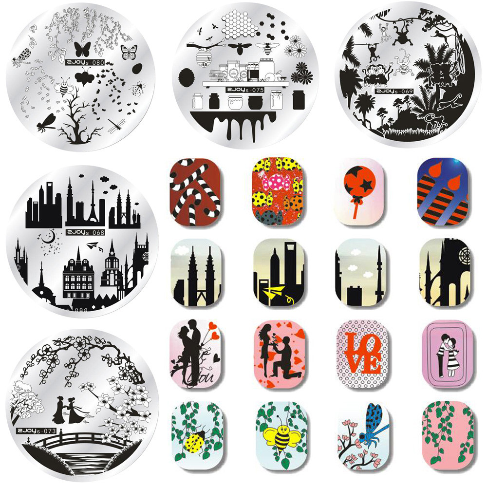 1Pc Geometry Spring Garden Stamping Template Round Flower Leaf Butterfly Floral Nail Art Image Plate Nail Stamping Plates