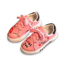 2017 new children's shoes girls casual sports shoes boys and girls tied with letters running casual shoes