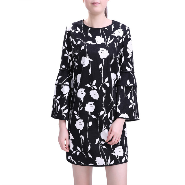 2016 Hot Sale Womens Elegant Floral Pattern Puff Seelve Jacquard Party Home Shift Dress