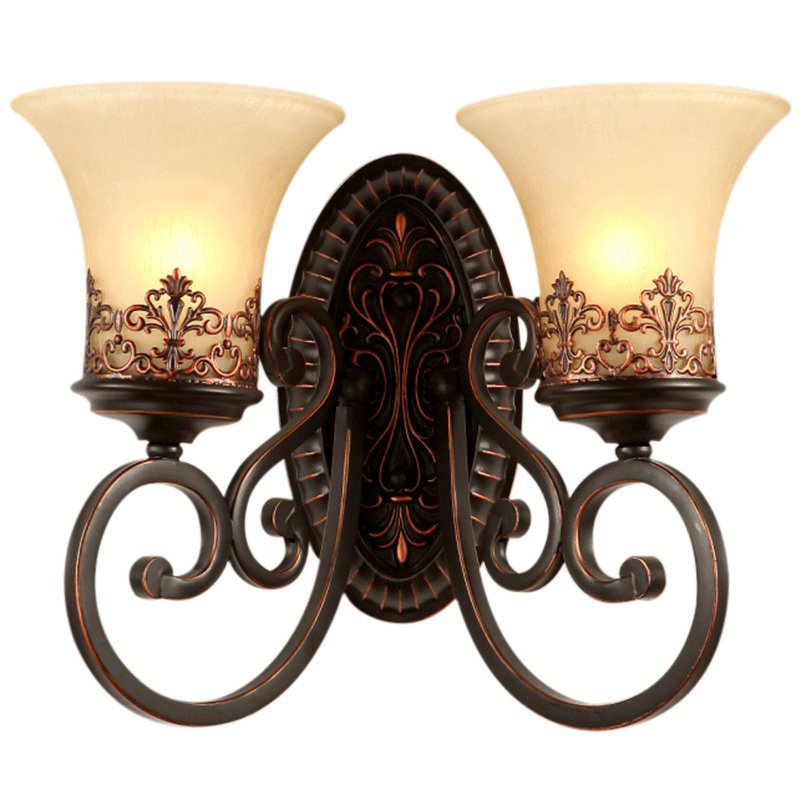American Antique Corridor Wall Lamps European Bedroom Bedside Wall Lights Mirror Front Living Room Wall Lighting Fixtures