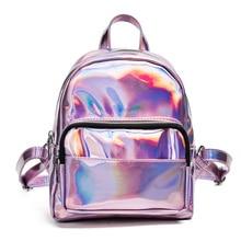 2017 новый женский рюкзак женская мода рюкзак марка дизайнер дамы back мешок высокого качества мешок школы голографический рюкзак