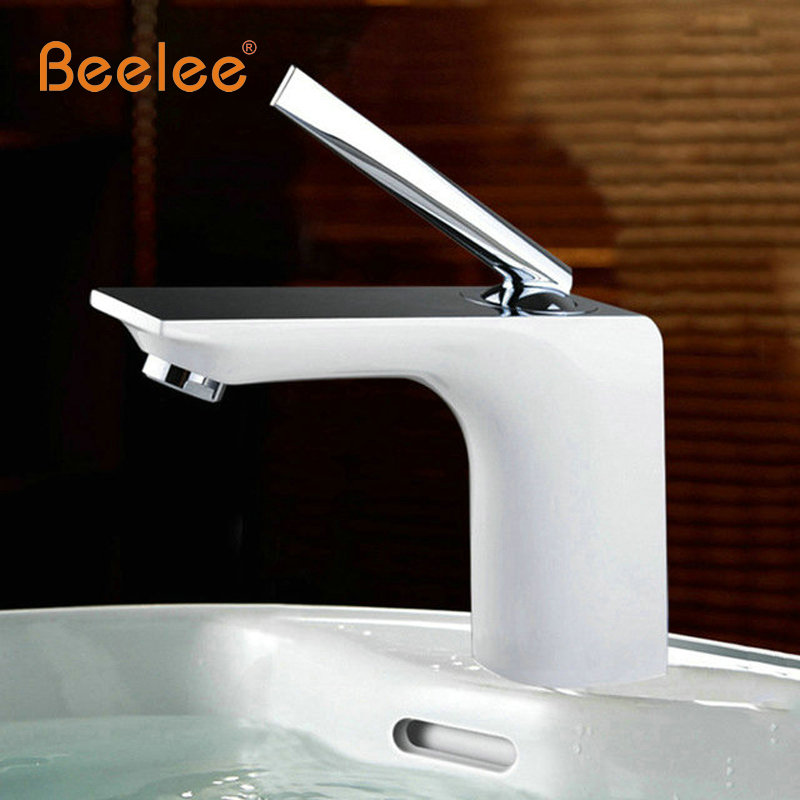 Beelee Free Shipping Bathroom Faucet Grilled white paint Chrome Finish Brass Basin Sink Faucet Mixer Tap Single Handle BL8371 free shipping high quality chrome finished brass in wall bathroom basin faucet brief sink faucet bf019