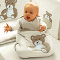 Summer in the spring and autumn winter cotton embroidered thin bear baby sleeping bag play is prevention