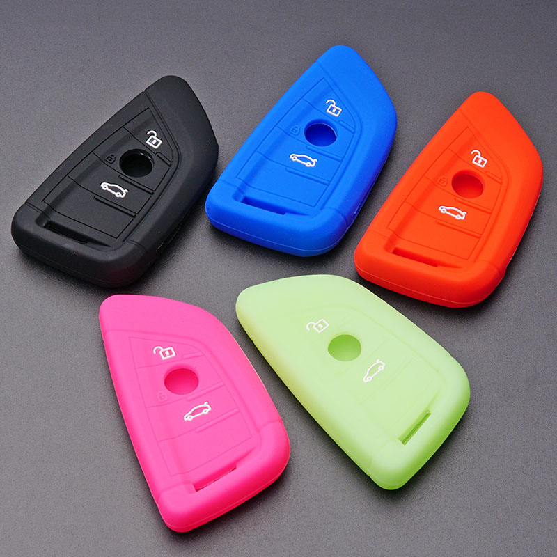 SEGADEN Silicone Cover Protector Case Holder Skin Jacket Compatible with BMW X1 X3 X4 X5 X6 4 Button Smart Remote Key Fob CV4907 Light Blue