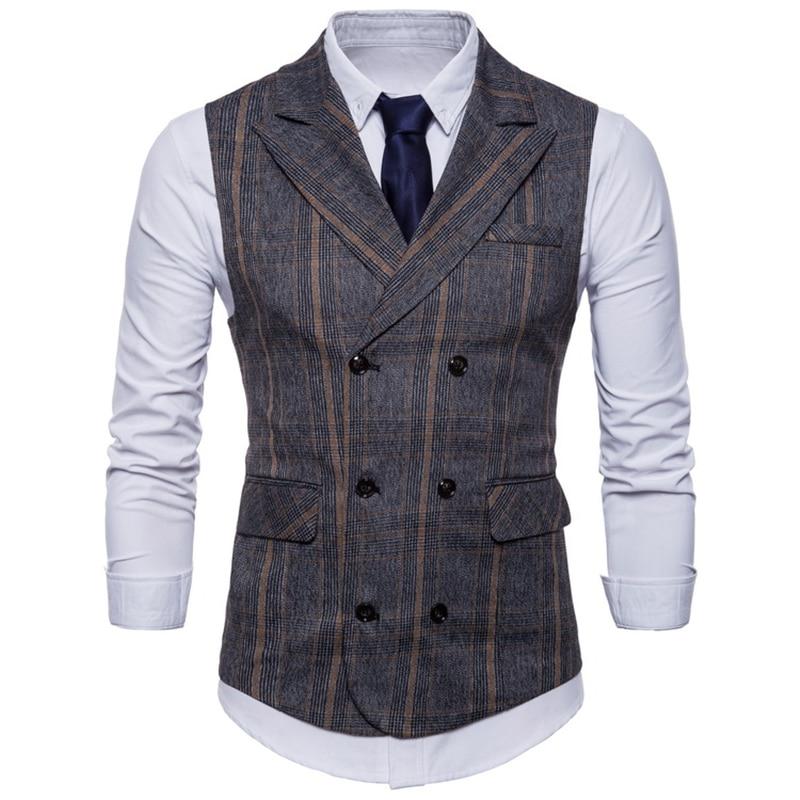 2018 Brand Striped Men Doouble Breasted Wedding Suit Vests Fit Men Sleeveless Business Vests No Shirts Dress Vests Autumn 4XL