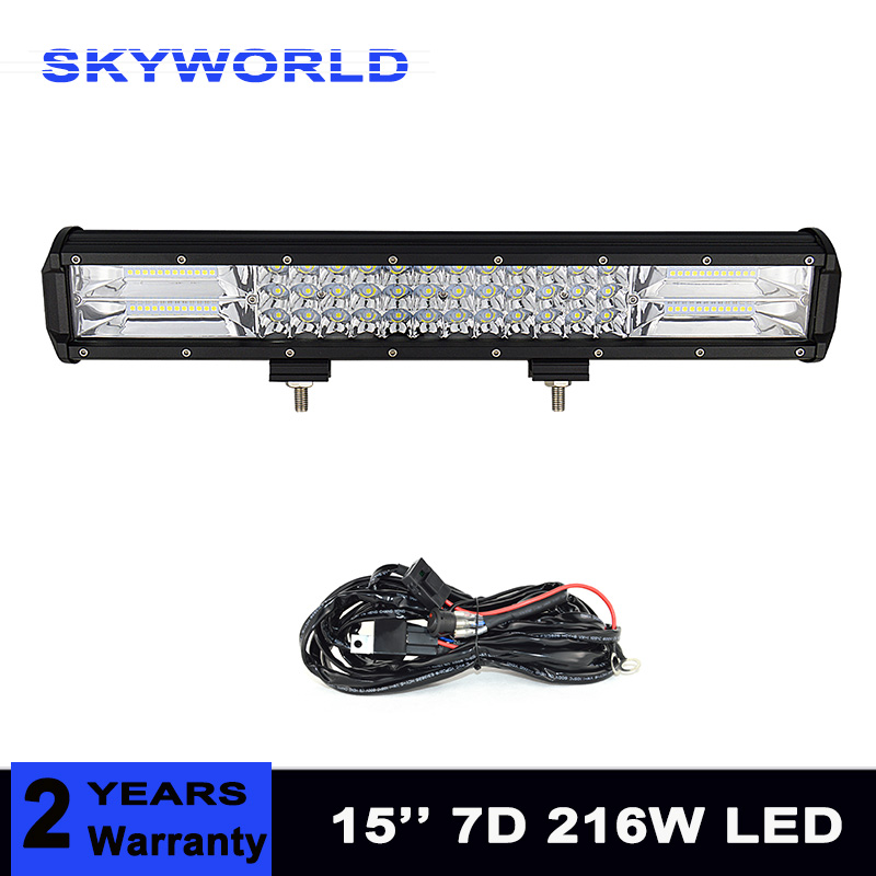 Us 27 36 New 15inch 216w Tri Row Led Light Bar Combo Beam 6000k Led Bar 4x4 4wd Offroad Driving Work Light Truck Tractor Car In Light Bar Work Light