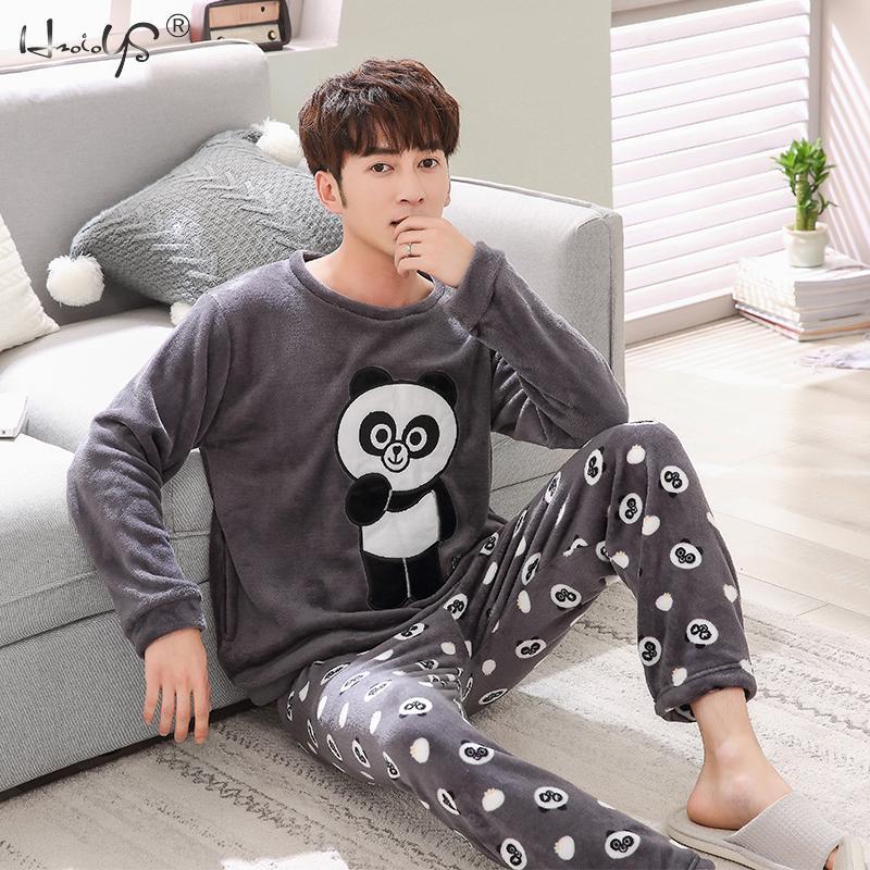 Image 3 - Women Winter Warm Pajamas For Unisex Couple Cartoon Pyjama Sets Animal Pyjama Suit Sleepwear Women/Men Home Clothing Pijamas-in Men's Pajama Sets from Underwear & Sleepwears on AliExpress