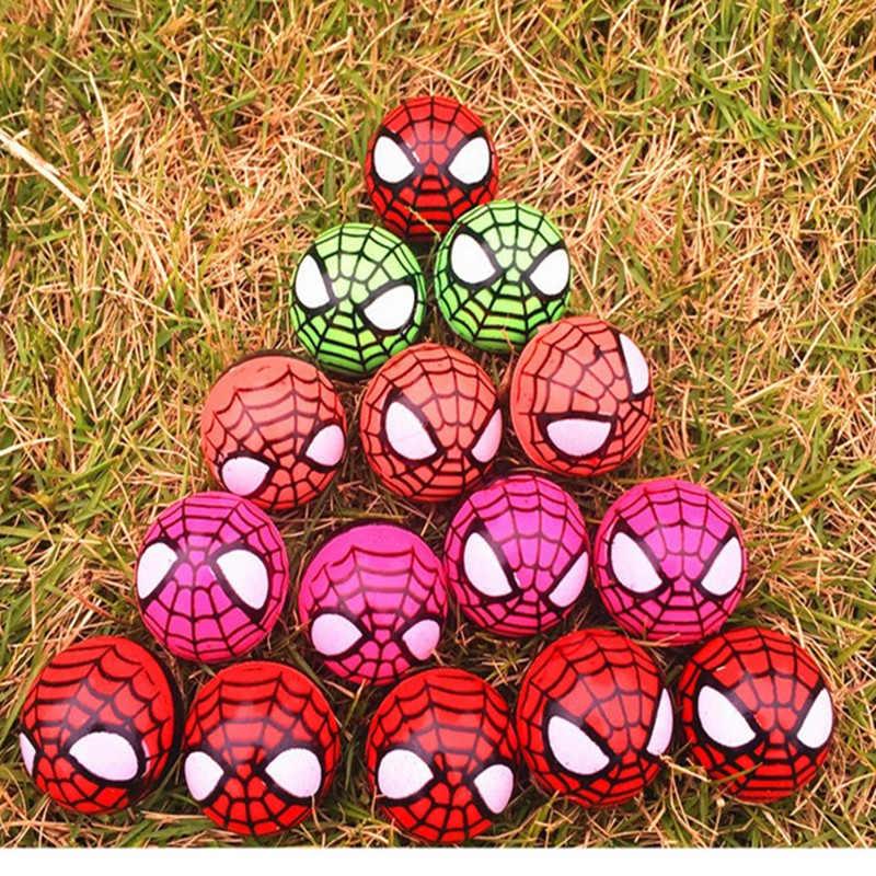 15pcs rubber spider bouncing ball,cute toys for children kids pets,birthday party gifts promotion fun anime man play balls