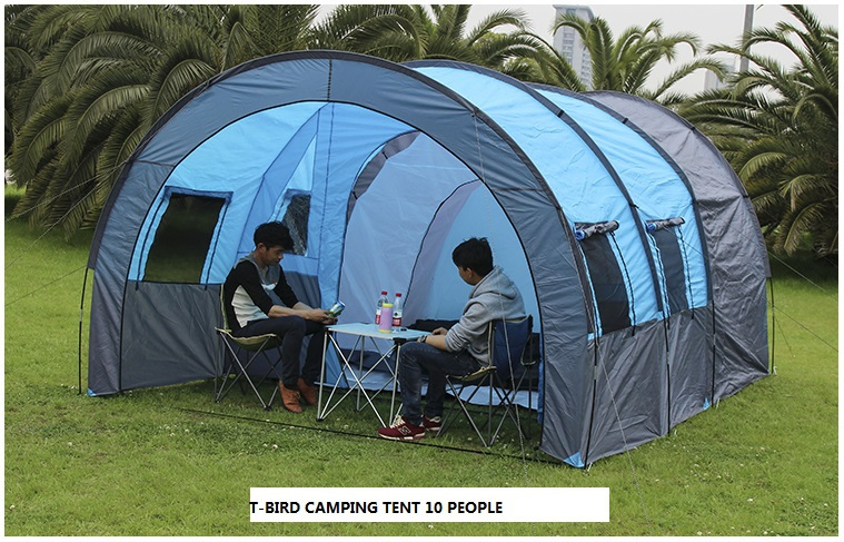 Ultralarge high quality one bedroom two hall 10 person double layer oversize waterproof outdoor camping tent