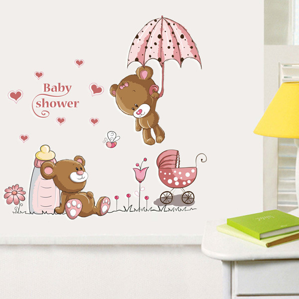 Newest 85cmx85cm Teddy Bear And Umbrella Wall Sticker Diy Baby Kids Rooms Home Decor Decals In Stickers From Garden On Aliexpress
