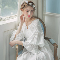 Women Vintage Gown White Cotton Princess Nightgown Ladies Royal Casual Sleepwear Women Night wear European Retro Style Dress 213