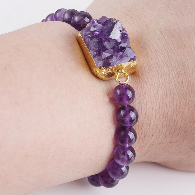 Morning Jewelry 100% Natural Amethyst Bracelet High Quality 8mm Beads Bracelet for Lady Women Drusy Bracelet Jewelery