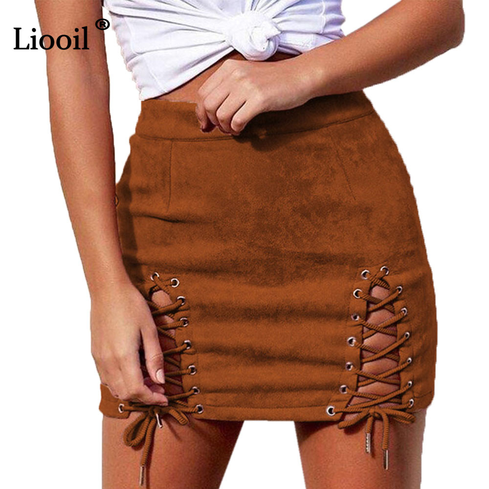Liooil Sexy Black Suede Women Skirt Pencil High Waist Autumn Winter Hollow Out Lace Up Vintage White Mini Skirts Womens Clothing