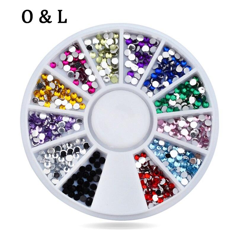 3d font b Nail b font Art Rhinestone Wheel 2mm Mixed Colors Flatback Glitter font b