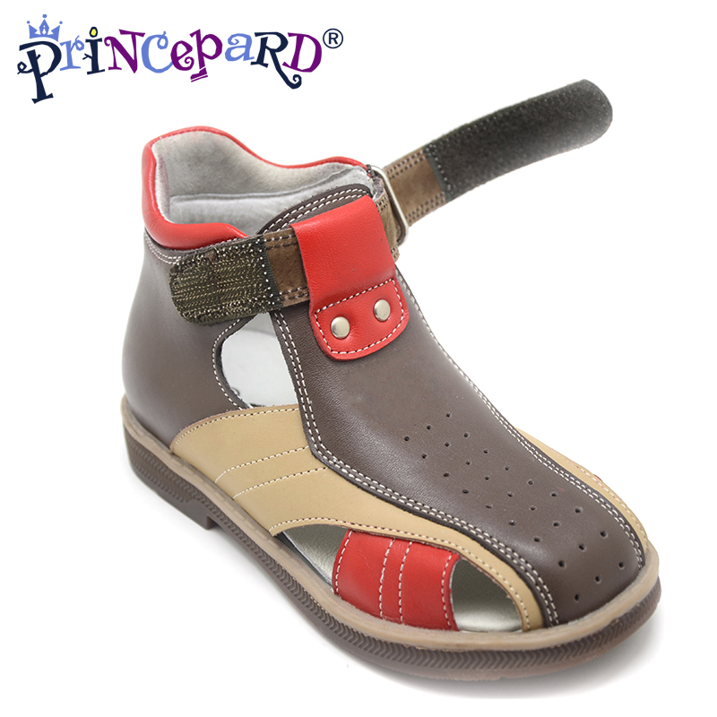 Princepard Need Customize in Advance 22days Children Boys orthopedic Sandals Genuine Leather Kids Sandals Casual Sport mmnun 2017 boys sandals genuine leather children sandals closed toe sandals for little and big sport kids summer shoes size26 31