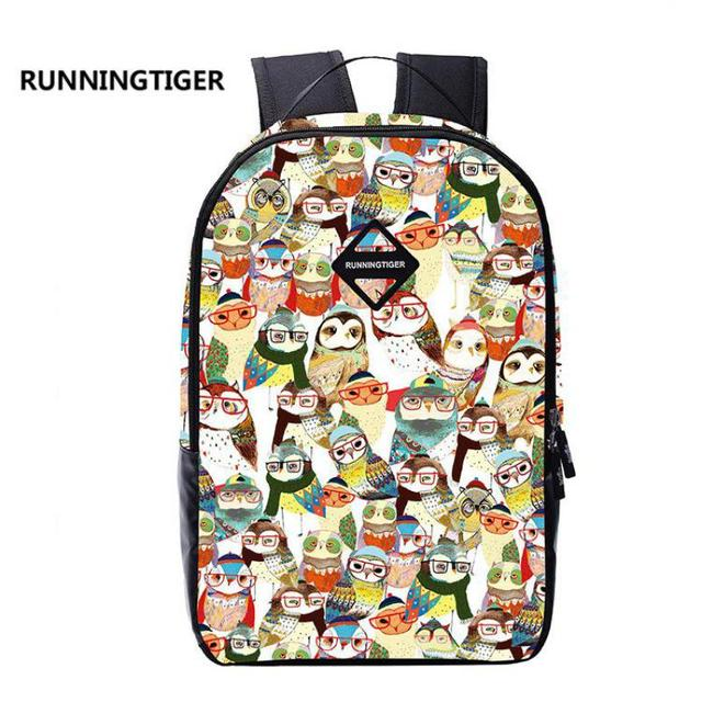 4b902172a Runningtiger Owl Printing Canvas Backpacks Unisex Cartoon School Backpack  For Teenagers Girls Boys Travel Leisure Bag