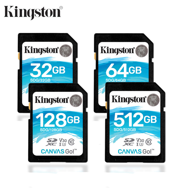 Kingston SD Memory Card 32gb 64gb 128gb 256gb 512gb SDG SDHC/SDXC Canvas Go HD 4K Video Cards For DSLRs Drones & Action Camera
