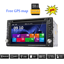 6.2 Inch double 2Din DVD GPS navigation Auto  Player 2 din Car audio gps system unit Radio Player Free Map built-in Bluetooth