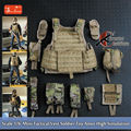 Scale 1/6 Mini Tactical Vest for Soldier Toy wearable Combat Amor High Simulation model Toy figures' weapons Toy Accessories