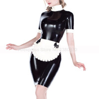 Sexy Latex Lolita Uniform Girl Dress One Set Rubber Latex Women Clothing with Apron S LD254