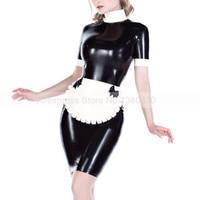Sexy Latex Lolita Uniform Girl Dress One Set Rubber Latex Women Clothing with Apron S LD254