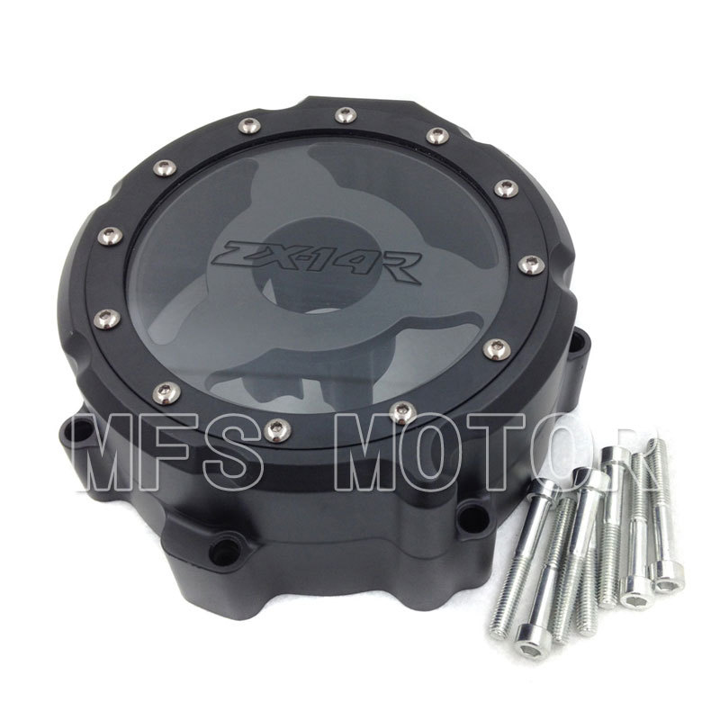 Motorcycle Left side Engine Stator cover see through For Kawasaki ZX14R ZZR1400 2006 2007 2008 2009 2010 2011 2012 2013 Black motorcycle cnc stator cover slider frame crash protector for kawasaki ninja zx14r 2006 2007 2008 2009 2010 2011 2012 blue