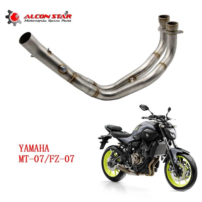 Alconstar-moto silencieux d'échappement mi Connect Refit moto moyen tuyau d'échappement cas pour Yamaha MT-07 MT07 FZ-07 FZ07