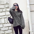 2016 New fashion autumn and winter bat sleeve loose sweater European style ladies loose sweater lazy wild wind  free shipping