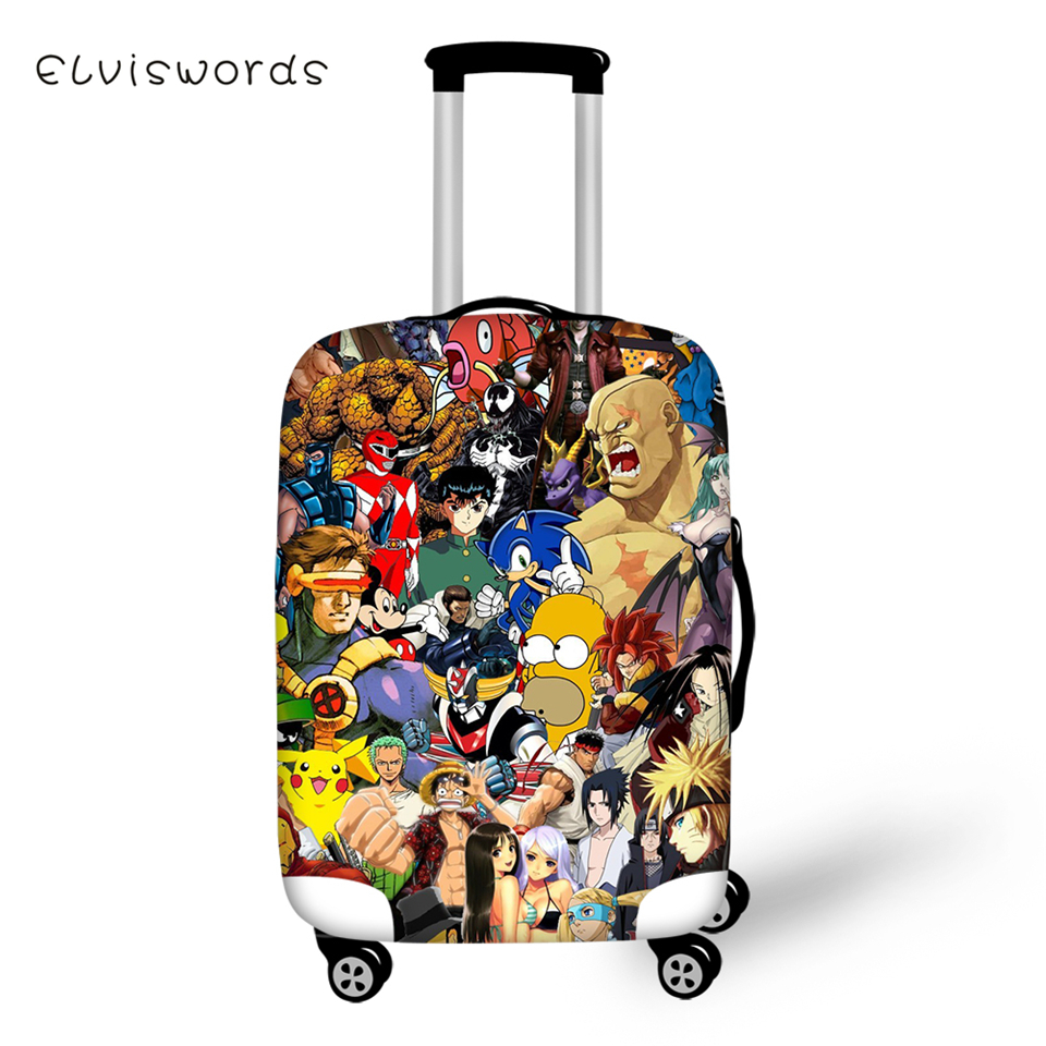 ELVISWORDS Cartoon Protective Suitcase Cover Death Notes Elastic Dust-proof Cover Waterproof One Piece Luggage Accessories