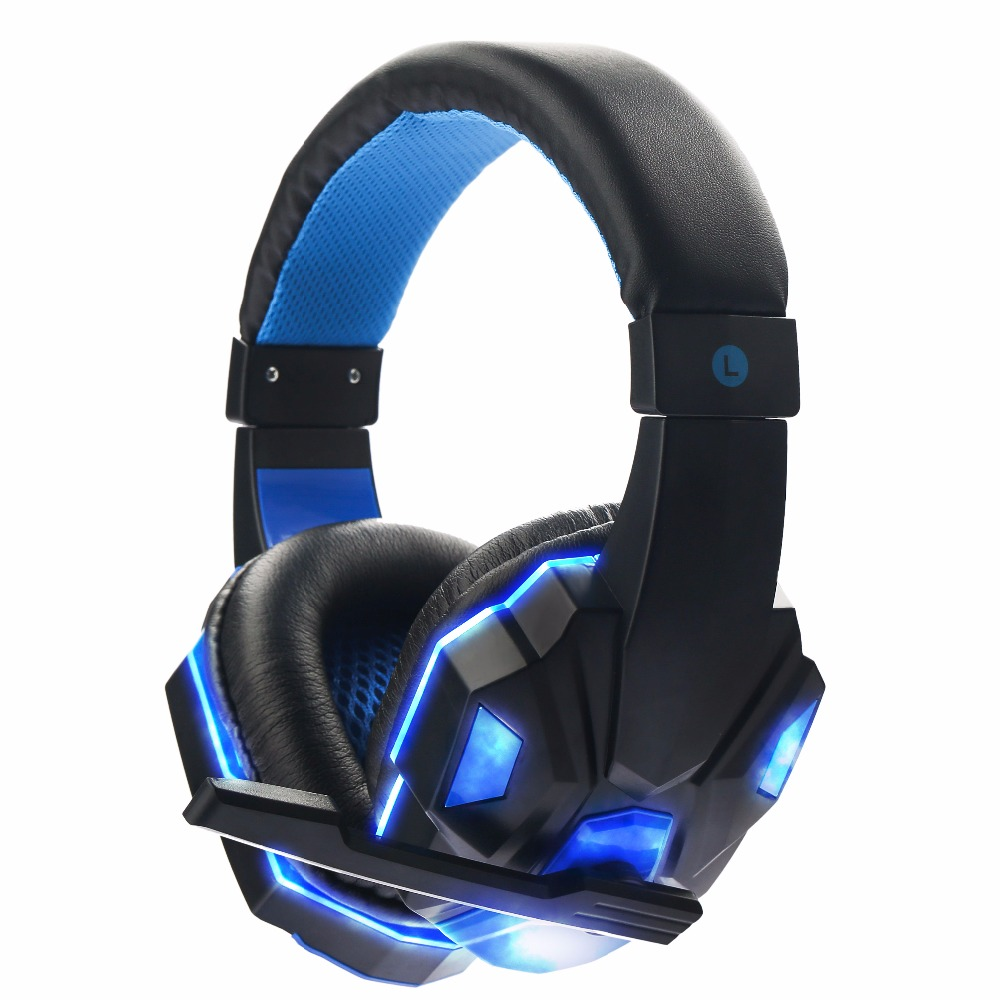 Gaming Headset Big Earphones Cool Glowing Headphones Stereo with Microphone for computer PC Laptop for professional Gamer high quality gaming headset with microphone stereo super bass headphones for gamer pc computer over head cool wire headphone