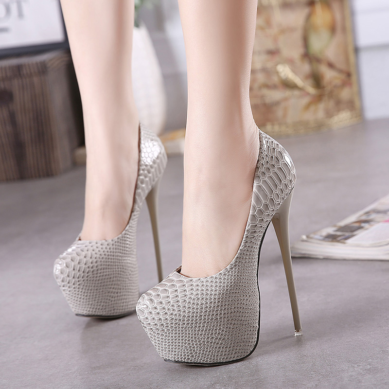 Ultra high heels Female high-heeled shoes snake pattern sexy dress footware Ladies  Fashion Black Platform Shoes EUR size 34-40 e84e88923528
