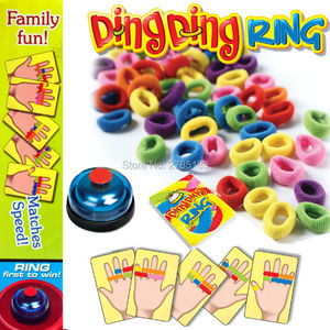 Ring Ding Toy Family Party Games Great Practical Gadgets Funny Challenge Bell with 24 pcs picture cards 60 pcs Hair Rings