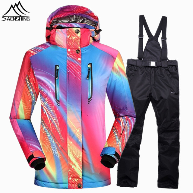 SAENSHING girls snow jacket winter suit Waterproof 10000 Super Warm womens  ski suits outdoor skiing jacket snowboard pant Sets 4d3ccb2ad1