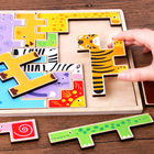 3D Wooden puzzles for kids Cartoon Animals Puzzle Educational Toy Tangram Jigsaw Board baby Size 22.3*22.3*2