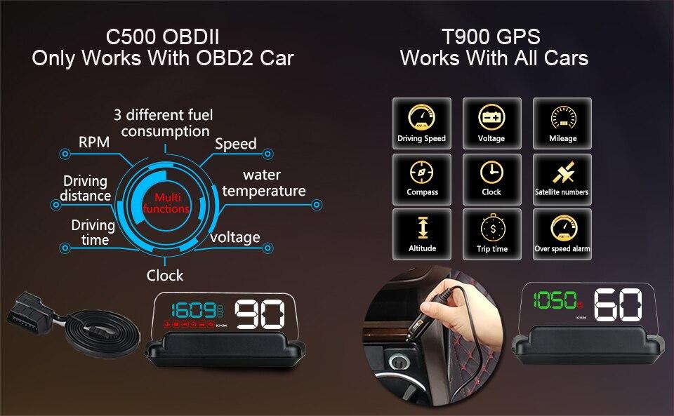 Original VJOYCAR C500 OBD2 Hud T900 GPS Head Up Display Projector Digital Car Speed Projector On-Board Computer Fuel Mileage 7